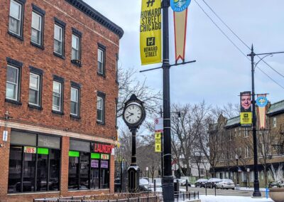 Banners and street signage help define the Howard Street identity, thanks to funding from SSA #19!
